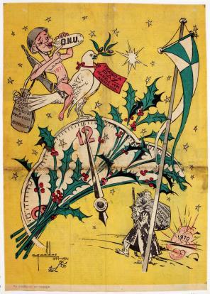 """ANO NOVO - 1971 Ilustração alusiva ao Ano Novo de 1971, com uma pomba trazendo a paz, mas com o """"Ano Novo"""" às suas costas com um saco cheio de projetos e promessas assombrosas da ONU. Depois de um ano velho (1970), cheio de terrorismo, piratas do ar e raptos. Publicada no jornal «O Comércio do Porto», por Cruz Caldas"""
